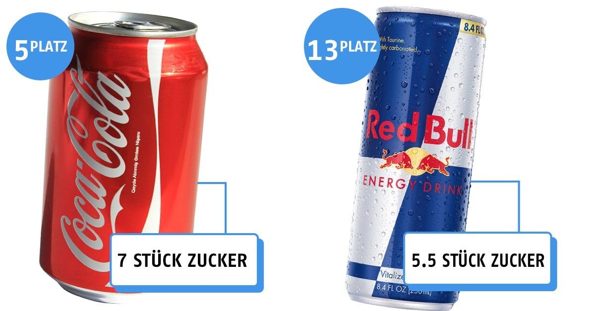 Der Zuckergehalt in diesen Getränken wurde in Stücke Zucker umgerechnet!