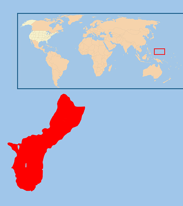 Guam ist die größte Insel des Marianen-Archipels im westpazifischen Ozean und gehört zu den USA