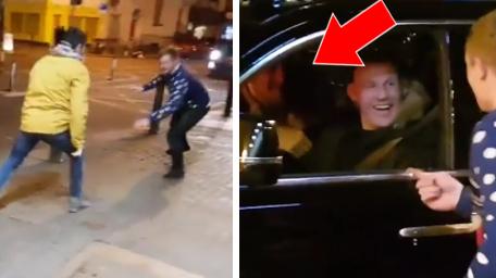 Zwei irische Fans von Conor McGregor imitieren ihr Idol nachts auf der Straße. Bis plötzlich...
