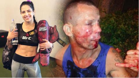 Dieb will die UFC-Kämpferin Polyana Viana bestehlen und bereut es sofort