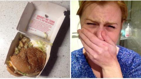In diesem Burger lauert der pure Ekel: Die Frau hat gerade nicht nur Fleisch gegessen...