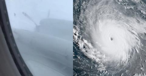 Sie wagen sich mit dem Flugzeug in das Herz von Hurrikan Irma