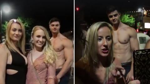 Die Bodybuilder schmuggeln sich ins Foto. Die Reaktion der Mädels ist genial