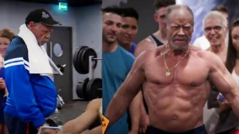 72-jähriger Bodybuilder spielt Leuten im Fitnessstudio einen Streich