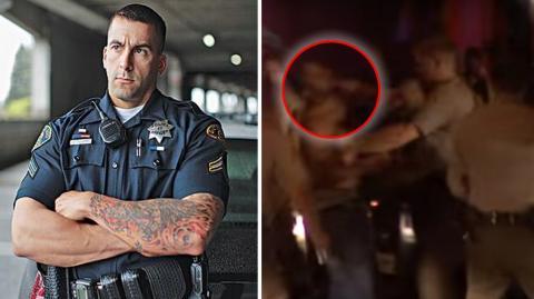 Ein Polizist aus Kalifornien haut einen aggressiven Junkie um!