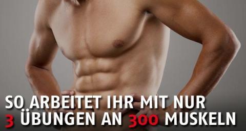 Ein Spezialist hat ein einmaliges Trainingsprogramm entwickelt: 300 Muskeln mit 3 Übungen trainieren!