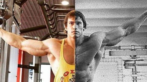 Anton Raskin ist ein Bodybuilder aus Russland und Doppelgänger vom jungen Arnold Schwarzenegger