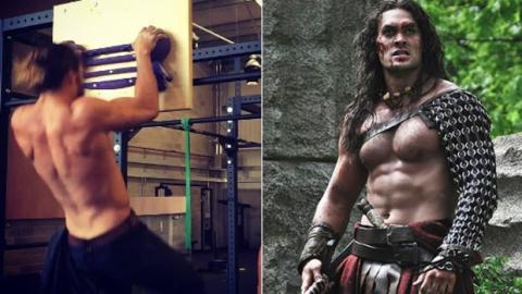 Jason Momoa, alias Khal Drogo in Game of Thrones, trainiert, um in die Haut von Aquaman Momoa schlüpfen zu können