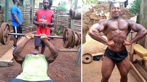 Kulbila Samson, ein Bodybuilder aus Ghana, kommt mit Behelfsmaterial zu beeindruckenden Ergebnissen
