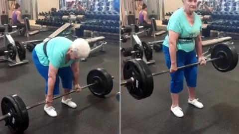 Shirley Webb hebt mit 78 Jahren mehr als die Hälfte der besten Sportler!