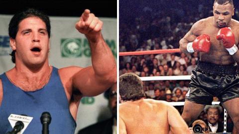 Peter McNeeley provoziert Mike Tyson nach seinem Gefängnisaufenthalt und wird dafür im Ring bestraft