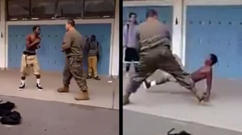 Der Junge wird aggressiv: Ein Soldat erteilt ihm eine Lehre