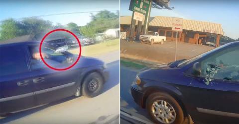 Ein Autofahrer beschmeißt einen Motorradfahrer mit einer Flasche. Doch seine Rache ist noch fieser!