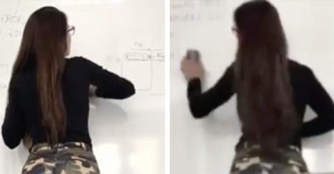 Die Lehrerin wischt die Tafel ab: Die Schüler können den Blick nicht von ihr abwenden!
