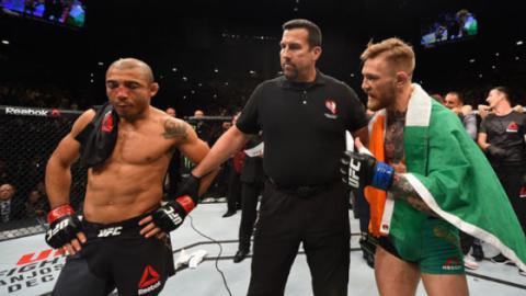 Conor McGregor freut sich für José Aldo über dessen Sieg gegen Jeremy Stephens