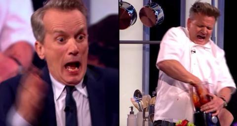 TV-Koch greift mit der Hand ins Gerät: Doch dann geht der Mixer an!