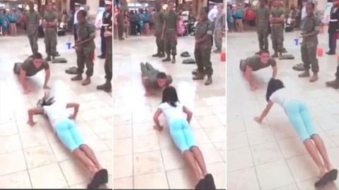 10-jähriges Mädchen blamiert einen US-Soldaten bei einem Liegestütz-Wettbewerb
