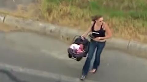 Frau flieht mit ihrem Baby vor der Polizei: Doch dann folgt ein Crash