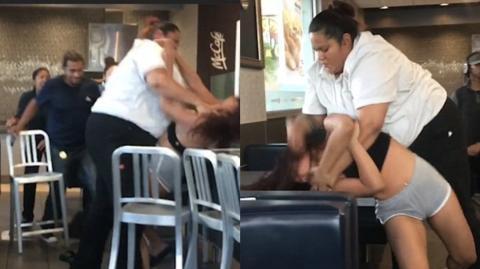 Brutale Schlägerei zwischen einer McDonald's-Angestellten und einer Kundin in den USA