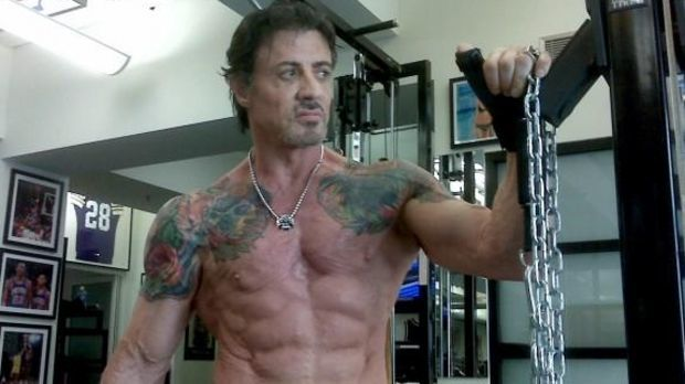 Sylvester Stallone Training The Expendables