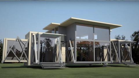 Falthaus: Kiste verwandelt sich in 10 Minuten in ein bezugsfertiges Haus!