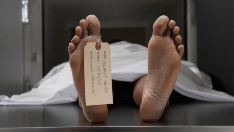 Als die Angestellten das Leichenschauhaus betreten, suchen sie sofort das Weite